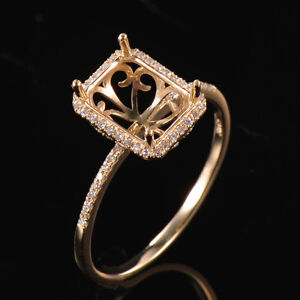Natural Diamond Ring Semi Mount Setting Emerald Cut 9x7mm Solid 14K Yellow Gold