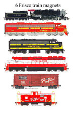 Frisco Locomotives, Box Car & Caboose Set of 6 magnets Andy Fletcher