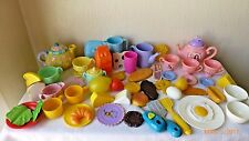 Vintage Fisher Price Play Pretend Dishes Plastic Play Food Lot of 59 Mattel More