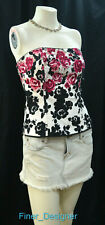 WHBM White House Black Market strapless blouse corset Cami Top floral SZ 2 S NEW