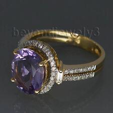 Solid 14K Yellow Gold Diamond Natural Amethyst Engagement Wedding Gemstone Ring