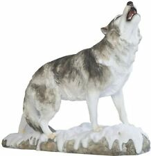 "13"" Howling Wolf Statue Animal Figurine Figure Collectible Wild Life Gray White"