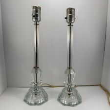 """Vintage Pair of Crystal Glass Boudoir Style Candlestick Table Lamps 15"""" Tall"""