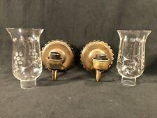 Vintage Brass & Hurricane Glass Shades Light Sconces Wall Fixtures Beautiful!