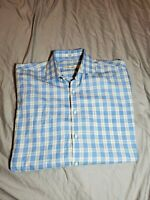 Peter Millar Blue white brown Plaid Dress Shirt Size Large cotton golf