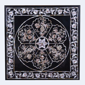 Square Black Marble Dining Table Top Marquetry MOP Floral Inlay Arts Decors B510
