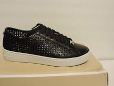 New Michael Kors Olivia Sneakers lace up black perforated leather upper 5,5