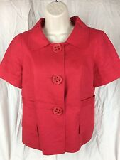 Lucy And Laurel Anthropologie Red Linen Short Sleeve Top Blazer Blouse Sz S