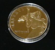 24k Gold Layered Saint-Gaudens Lady Liberty Commemorative With COA Retail: 79.95