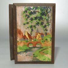 "Old French Wooden Box, Handpainted, ""Village Church"" Landscape, Signed"