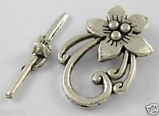 10 Antique Silver Large Flower Toggle and Bar Sets Lead & Nickel - Clasps
