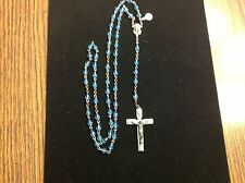 Vintage Rosary Rosaries Beads Blue Beads, Marked Italy Brand New with tag on