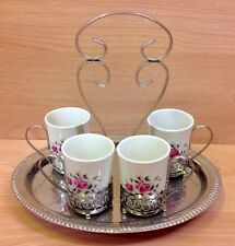 """Enoch Wedgwood """"Pink Rose"""" Pattern Coffee Cups & Stand."""