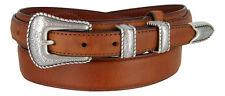 NEW Silver Buckle Set Genuine Leather Western Cowboy Ranger Belt, Sizes 32-50!