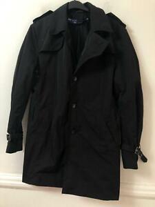 River Island Black Jacket Size Medium Mens Long Sleeve (M562) Over Coat
