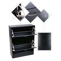 Wooden Shoe Storage Cabinet 2 Drawer Footwear Stand Rack Unit Cupboard