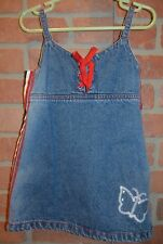 Mary-Kate and Ashley 3T Sporty Denim Jean Jumper Dress Butterfly Heart Mary Kate