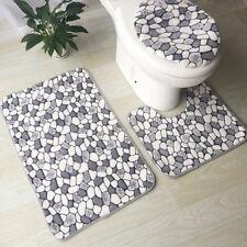 3Pcs Washable No-Slip Bathroom Pedestal Rug Carpet Toilet Lid Cover Bath Mat Set