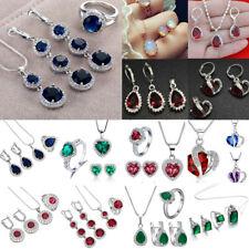 Women 925 Silver Gemstone Topaz Necklace Pendant Rings Earrings Jewelry Sets