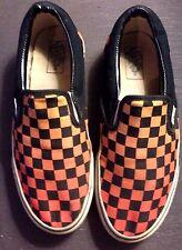 Vintage Van's Slip On Shoes Checkerboard Black Orange Size 7 1/2 90's skateboard