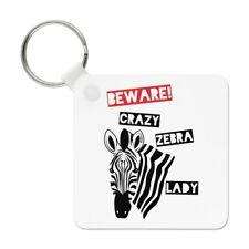Beware Crazy Zebra Lady Keyring Key Chain - Funny Animal