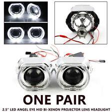 """One Pair 2.5"""" LED Angel Eye HID Bi-Xenon Lens Headlight Kit Red Devil Demon Eye"""