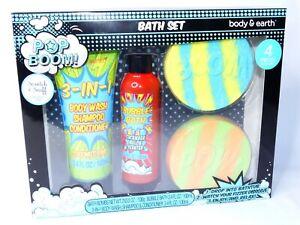 POP BOOM Body & Earth 4-Piece Bath Set 3-in-1 Body Wash Bubble Bath Bath Bombs