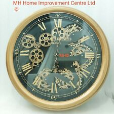 Round Rustic Design Brown Wall Clock Moving Cogs Paris Champs Elysees Writing