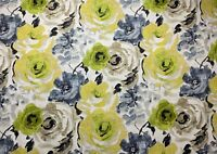 Watercolor Floral Citron Green Blue Taupe Yellow Upholstery Fabric By The Yard