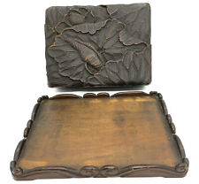 Antique Hand Carved Wood Box W/ Tray. Floral.