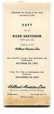 Vintage CruiseLine Info HOLLAND AMERICA NIEUW AMSTERDAM 1st post ww2 cruise 1947