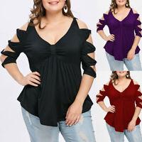 Women Ladies Plus Size Bowknot Cut Hollow Out Empire Waist V-Neck T-shirt Tops I