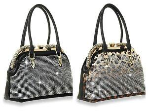 HANDBAG BLACK OR LEOPARD    A-Frame Leopard Print Rhinestone Handbag