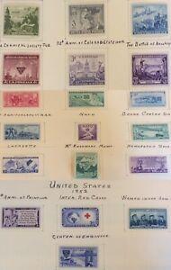 1951-52 commemorative set, Scott #998-1016, MH, F-VF