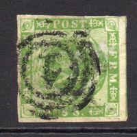 Denmark 8 Skilling Stamp c1858 Used (small rub) (2242)