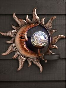 Solar Power Sun & Moon LED Decorative Garden Light Wall Art Plaque Ornament