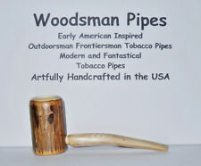 O154 Outdoorsman Hunt Fish Camp Woodsman Hickory Tobacco Pipe Handcrafted in USA