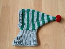 HAND KNITTED WHIPPET/GREYHOUND LIGHT GREY/ GREEN STRIPES & RED POMPOM