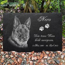 GRABSTEIN Tiergrabstein Gedenkstein Hunde Hund-020 ► Foto Gravur ◄ 20 x 15 cm