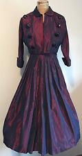 VINTAGE 1950s Iridescent Wine Taffeta 2pc Dress Halter Bolero Dance PROM Evening