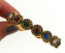 Vintage Childs Kid Gold Mix Color Rhinestone Fancy Burst Encrusted Cuff Bracelet