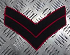 Genuine British Army Corporal Rank Stripes 2 Chevrons Navy Blue on Red EPB14
