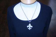 Rhinestone Fleur de lis Necklace Rhinestone Necklace Silver Necklace New $70
