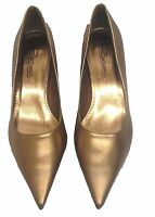 Ladies Womens Pointy Toe Bronze Court Low Heel Party Shoes Wedding Formal Size