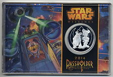 NEW DISNEY STAR WARS WEEKENDS 2014  Limited PASS HOLDER SILVER PLATED COIN