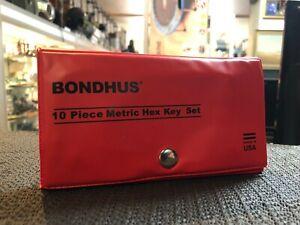 BONDHUS 10 PIECE METRIC HEX KEY SET / MADE IN USA - AUSSIE STOCK !