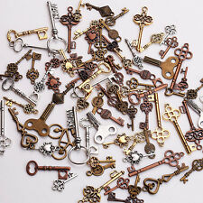 25Pcs Mixed Key Shape DIY Necklace Key Chain Charm Metal Jewelry Making Pendants