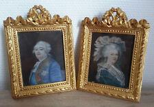 RARE magnifique PAIRE MINIATURE PEINTURE XIXe signées LOUIS XVI MARIE ANTOINETTE