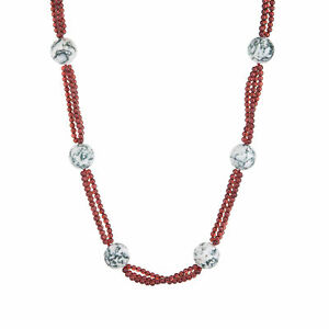 """Long 32"""" Garnet Agate Necklace Vintage Fine Jewelry Estate Pre Owned"""