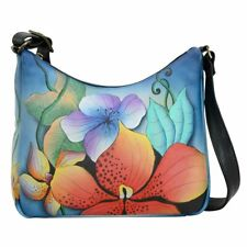 Anuschka Leather Hand Painted Medium Hobo Bag Anna Original Art Midnight Floral